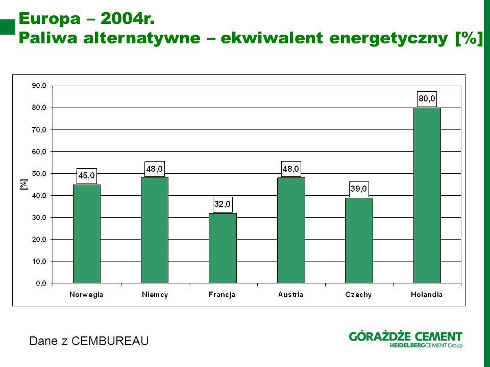 Paliwa alternatywne – ekwiwalent energetyczny [%]